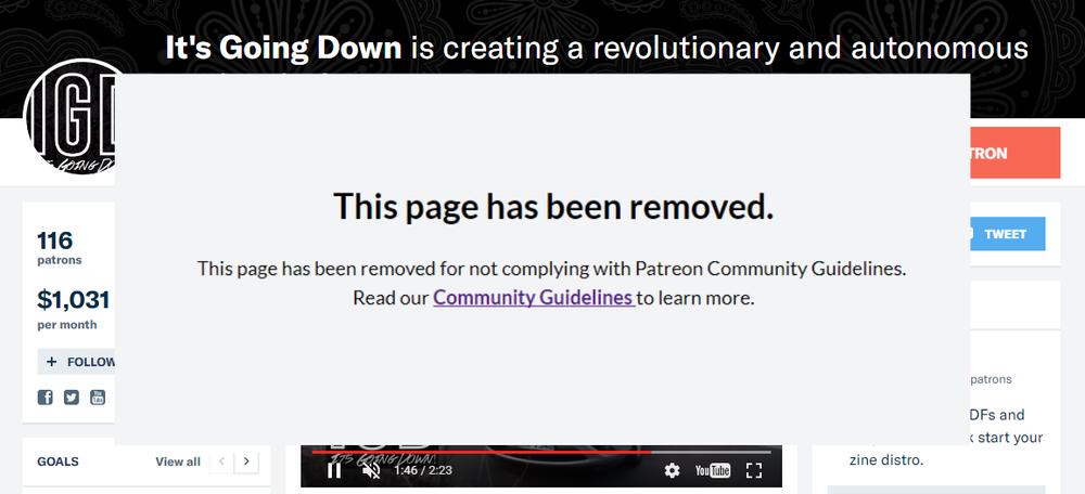 antifa patreon down
