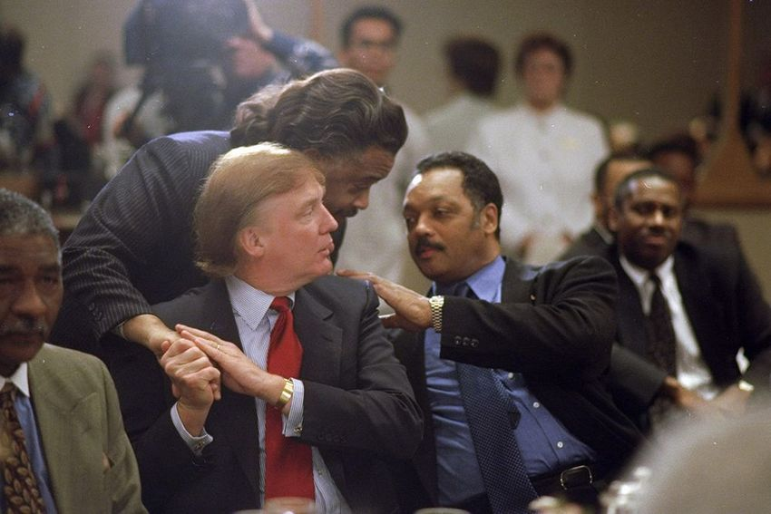 Circa 1998, Donald Trump receives an award from Jesse Jackson with Al Sharpton for racism or bigotry or something.