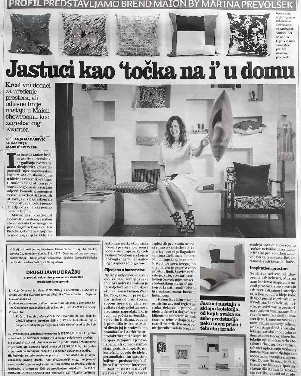 MaionDecor in daily newspapers Vecernji list