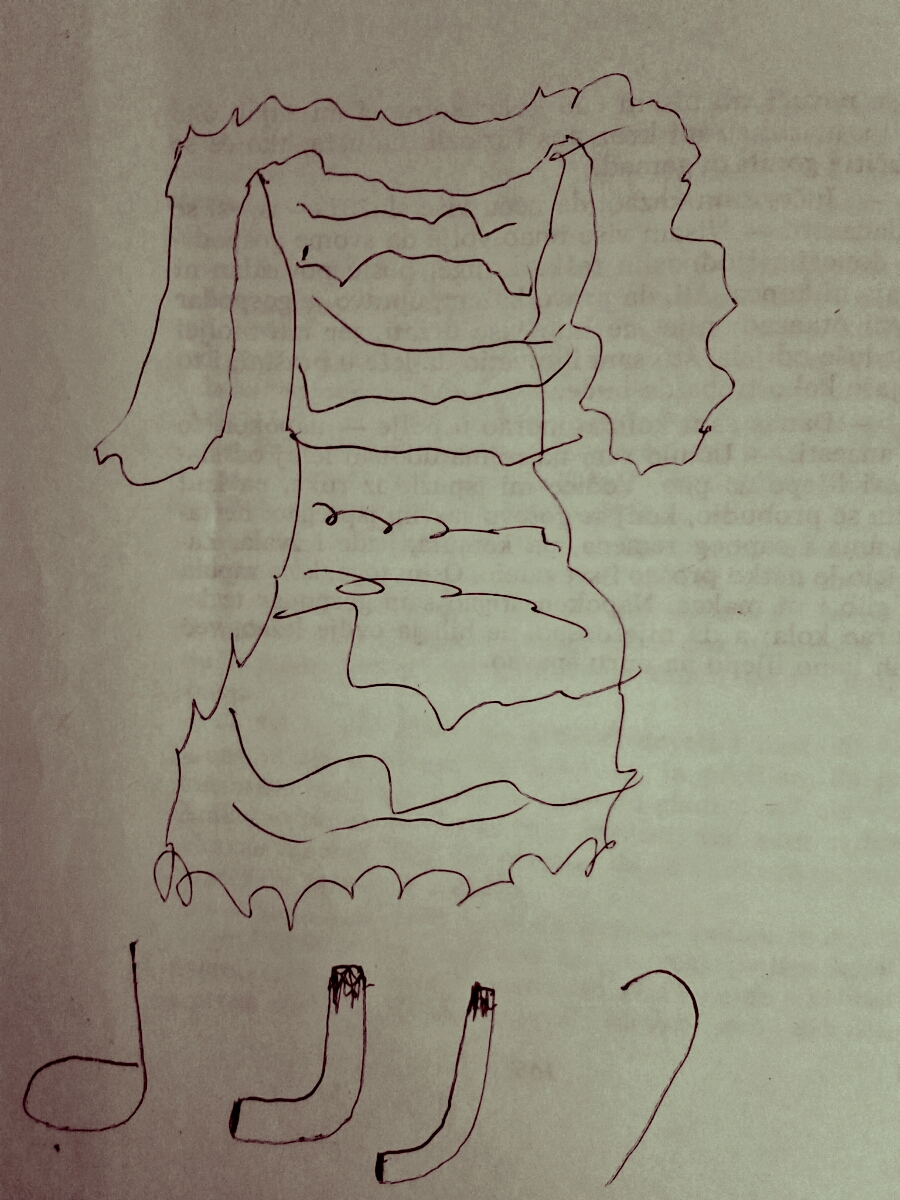 "Marina's first ""fashion drawing"" at age of four on the covers of Fairy tales by Grimm brothers"