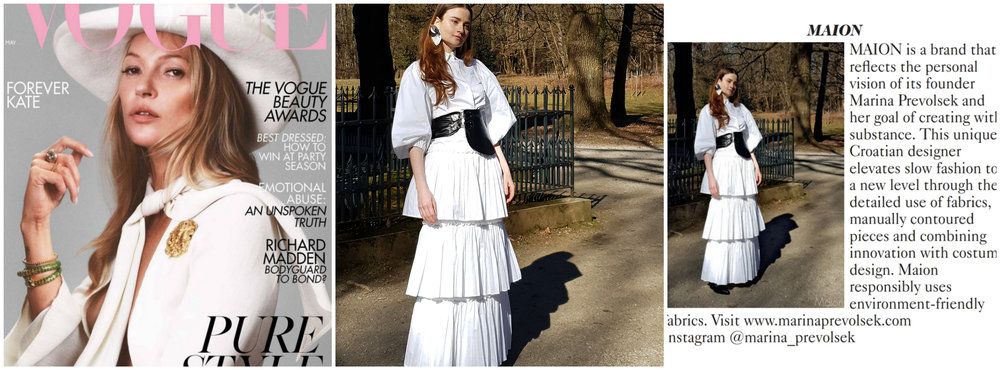 MAION IN BRITISH VOGUE - We are featured in another issue, in Designer profile with hand pleated dress from the new collection..