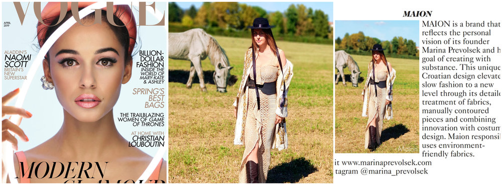 mAION IN BRITISH VOGUE - April issue of British vogue, Designer profile section shows a story of slow fashion, crocheted dress and loom weaved jacket..