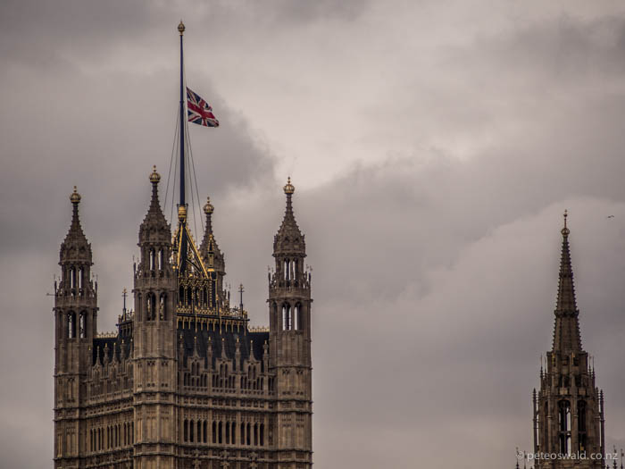 London's parliament flag at half mast