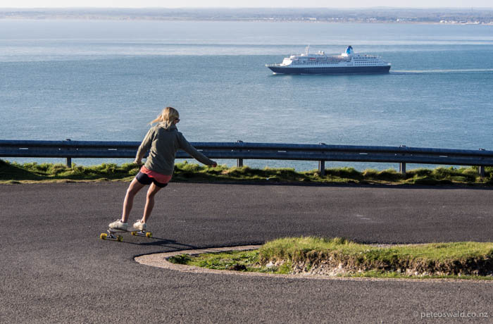 Soph bombing a hairpin with the Solent behind
