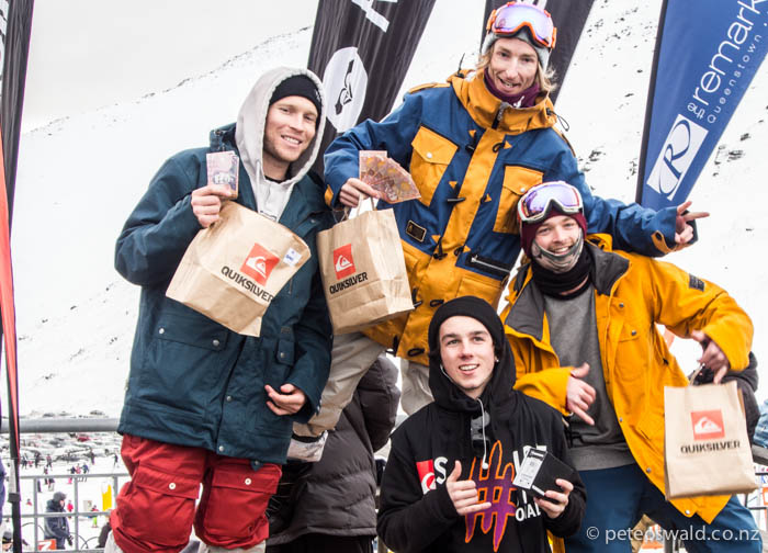 Snowboard Men Podium: 1st Nick Hyne, 2nd Nick Brown, 3rd Milo Ma & that dude 4th