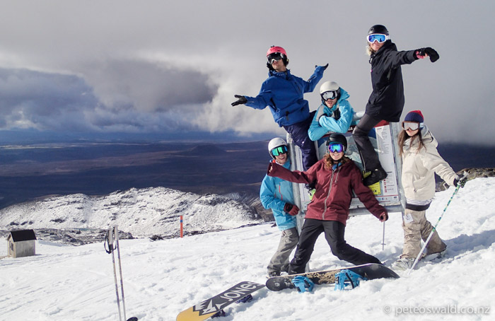 "L -R: Brigitte Unger, Sara Bultman, G King, Geordie Wilson, Axel Scherrer and myself ""out west"" on Whakapapa"