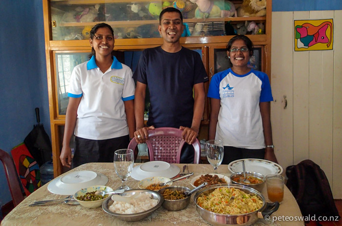 Diana (left), Ranchan (OST Sri Lanka manager, centre), and Rathi (right) are the team in Batticaloa that hosted us while we were visiting the Karaveddy Preschool that all our donators have helped. They cooked us an amazing lunch, just one of the amazing meals we were hosted at while in Batticaloa
