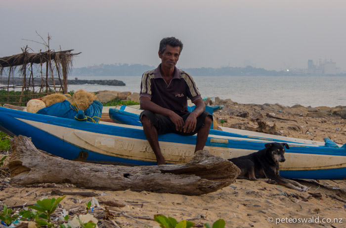 This guy, Riley (how his name sounded), was a local fisherman in Hendala just north of Colombo (background)