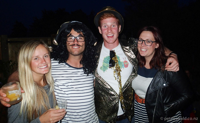 The notorious Pussy Port Crew – L-R: Sophie Stevens, Me, Frank Bagnall & Caff Mate at Soph's surprise party