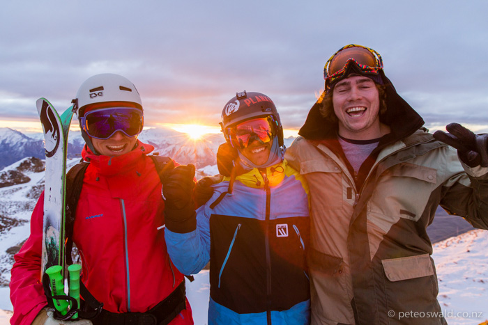 Lukas & I with Henry Youngman – my good friend and local radio host on More FM at  Coronet Peak  night ski in the last light of sunset. Photo:  Dan Power