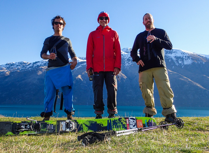 The crew on the heli day in front of Lake Wakatipu – L-R: Myself, Lukas Zoegernitz &  Dan Power  the photographer