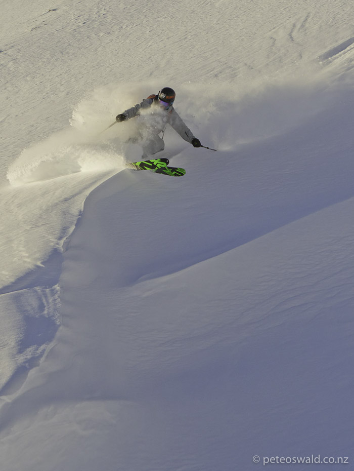 Old pow lip slash in the slack country of Morzine, we were guided by many super friendly locals! Photo: Tom Humpage
