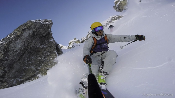 After Hiking for the rest of the fresh snow after the weather cleared, Leo Rauch and I ripped up a couloir
