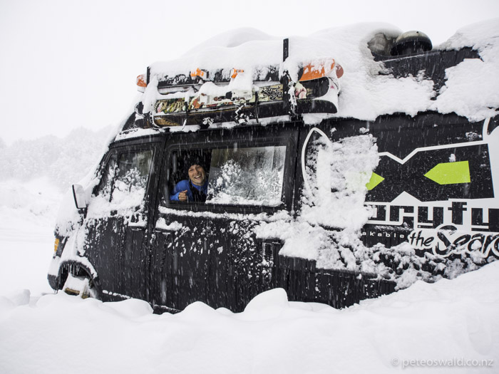 Hannes in The Powder Bus! Never have I seen such an epic campervan converted with such thought, love and care