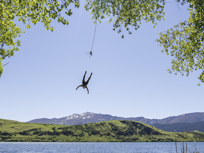Rope swing at Lake Hayes, Queenstown. Photo: Hamish Smith