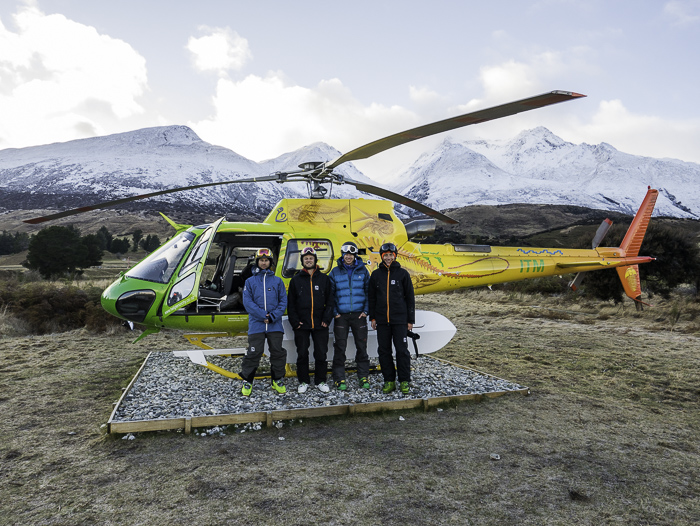 The Boys and their pretty bird from Heli Glenorchy. Photo: Pilot Nick