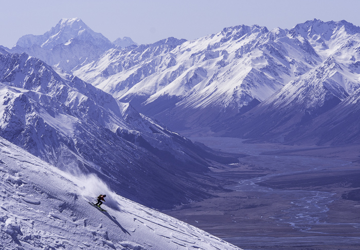 Hamish slaying the ridge in front of Mt Cook, NZ's highest mountain