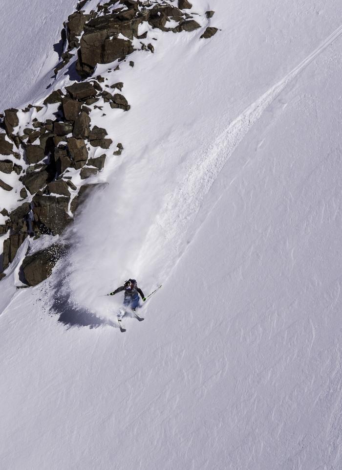 Christoph slashing the steeps