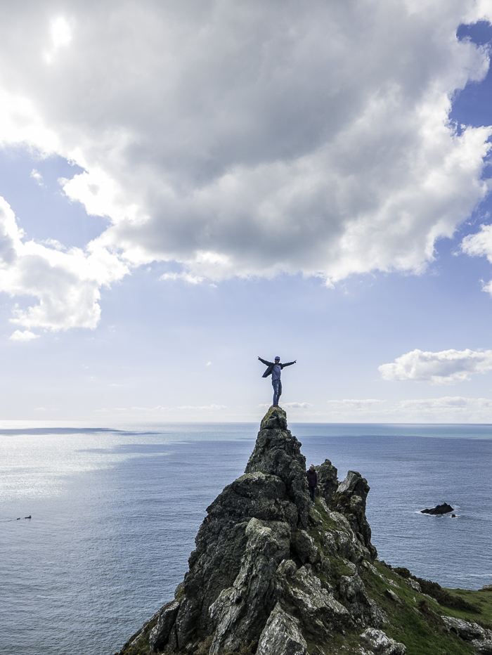 Balancing on some of the cool rocky coast looking south to the English Channel. Photo: Sophie Stevens