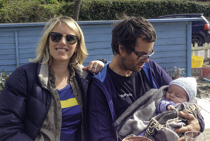 Holding 10 week old Max, my new Nephew with my sister harry