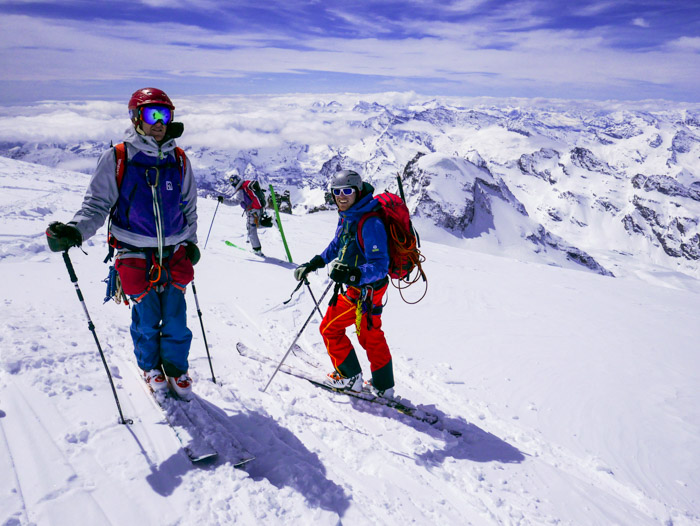 Skiing down from the peak of the Gran Paradiso, Italy (4061m). L -R: My brother Will Oswald, Hamish Smith & Marko Krzywon