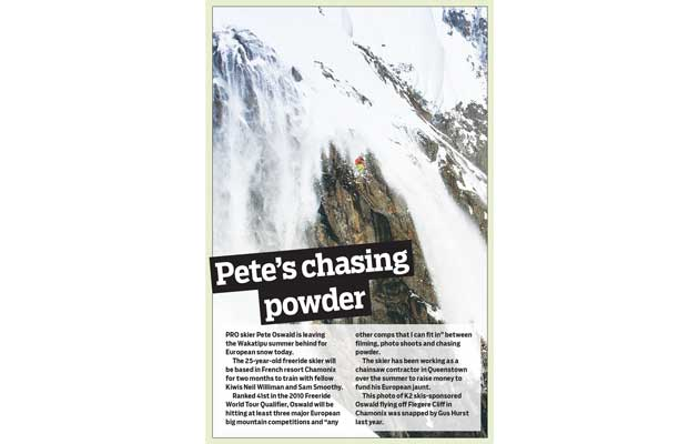 Mountain Scene Newspaper - Chasing Powder