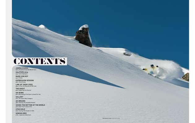 NZ Skier Magazine - Contents Spread