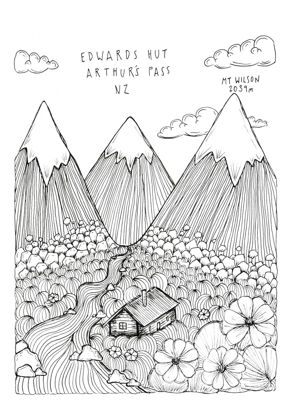 A doodle Soph did of the Edwards Hut.