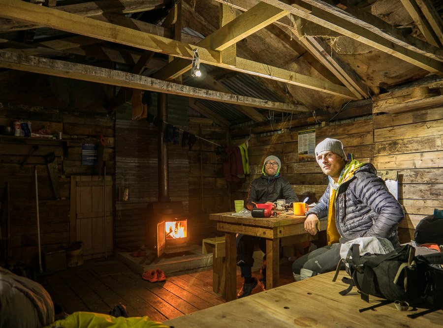 A satisfied but unplanned evening back in the Dynamo hut after skiing the South Face