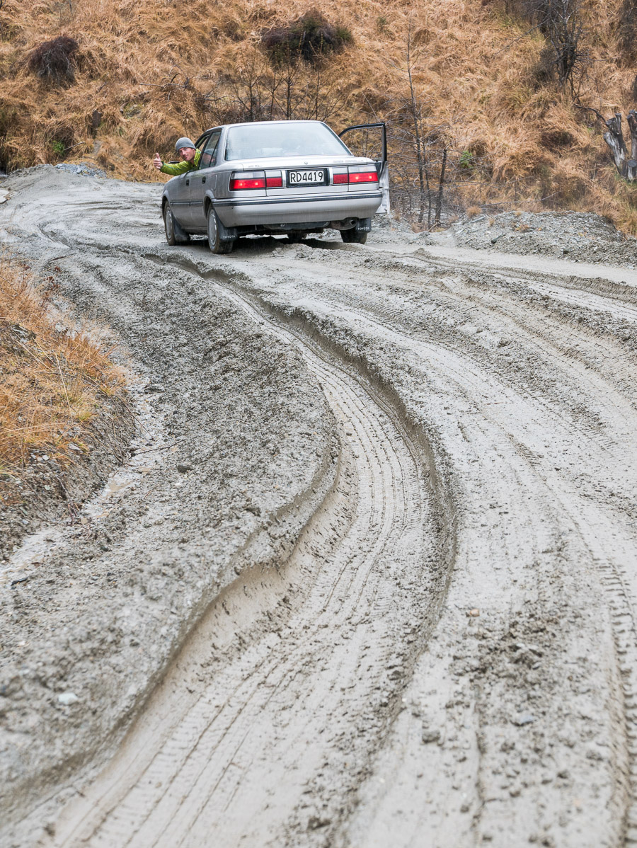 "The Corolla ""The Land Rolla"" making easy work of a sloppy drive out of Skippers Canyon"