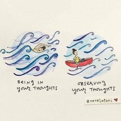 ❤️ this. . I quite often refer to thoughts in meditation as like a train pulling into a station - don't get on board, don't judge or evaluate, don't follow the thought. Just watch the thought from afar, watch the doors close, bring the focus back to the breath and watch it gently slip away. . But this image is another beautiful visual representation. . x . #meditation #thoughts #holism #yoga #yogateacher #livingyoga #mindfulness #calm #perspective #authentic #melbournelovesyoga #alwayslearning #consciousliving