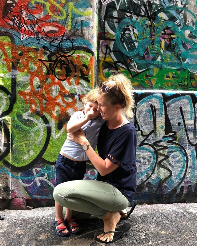 Savouring the sweet moments amoungst the madness #graffiti #melbourne #yogamom #babyboy #mad #melbournemums #melbourne