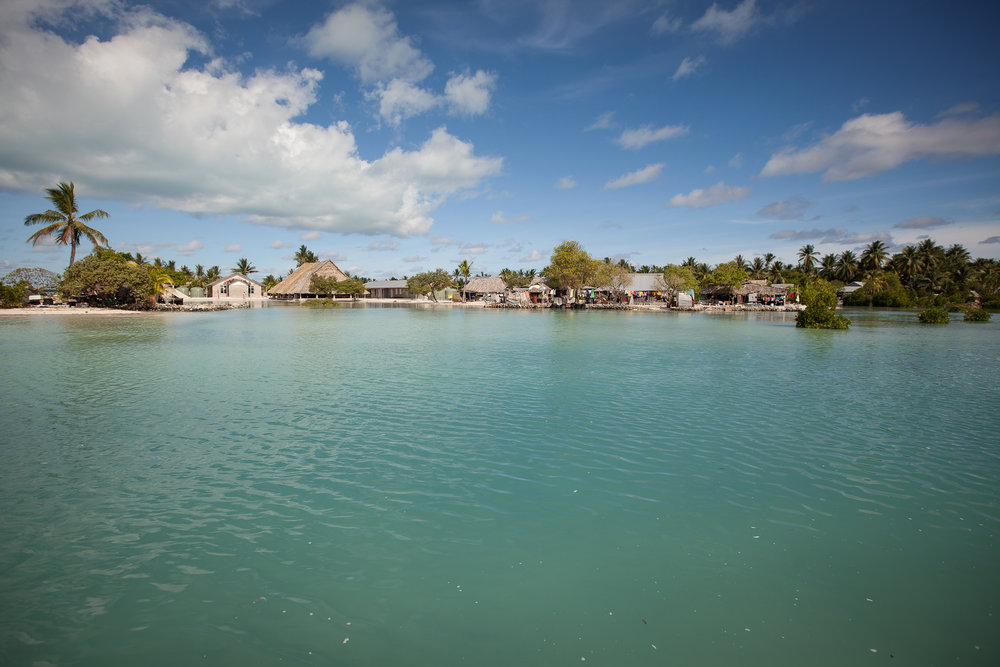 The tide comes in amongst the village of Tebikenikoora. Small islands nations such as Kiribati and the Marshall Islands are widely accepted to be under threat from sea level rise, with some people, such as the president of Kiribati Anote Tong, saying the islands will disappear under the waves within 30 years.