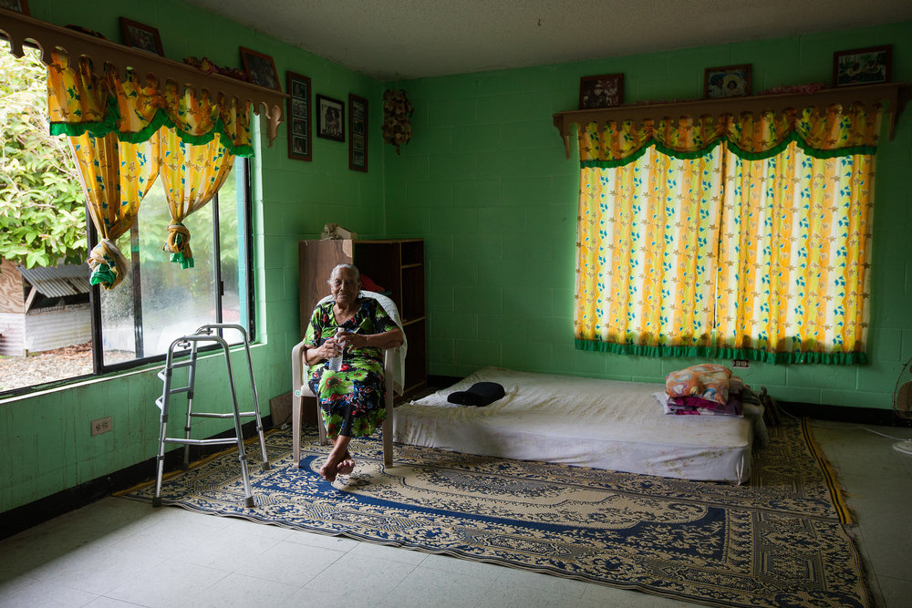 Lirok Joash, 89, is the oldest living Bikinian. Currently living on the tiny island of Ejit just off Majuro, she has been relocated multiple times already over her life because of nuclear radiation, and may well live to be relocated again, this time due to climate change.