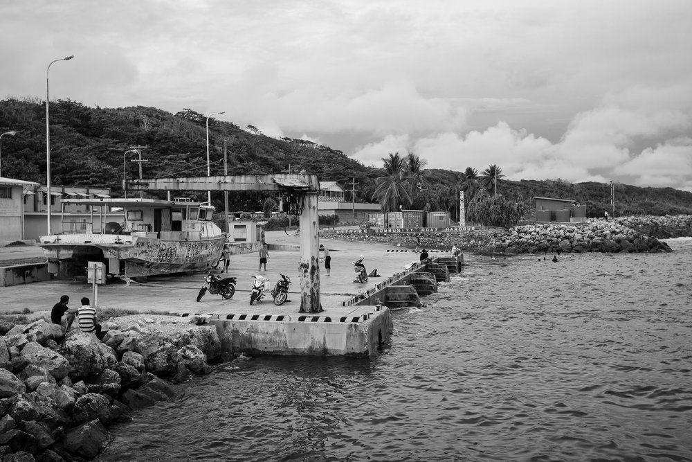 The harbour in Anibare is only a few hundred metres from Anibare refugee camp, and is a popular place for swimming.