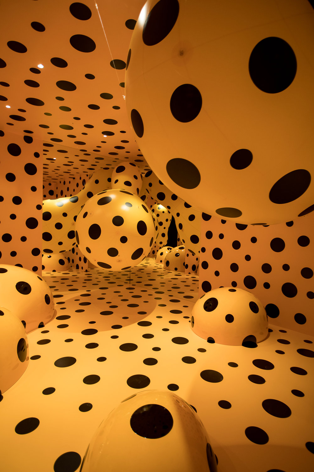 Dots Obsession—Tasmania 2016  Yayoi Kusama (Born 1929, Matsumoto, Japan; lives and works in Tokyo, Japan) Mixed media installation Commissioned by Mona for On the Origin of Art   ©Yayoi Kusama. Courtesy YAYOI KUSAMA Inc., Ota Fine Arts, Tokyo/ Singapore and Victoria Miro Gallery, London