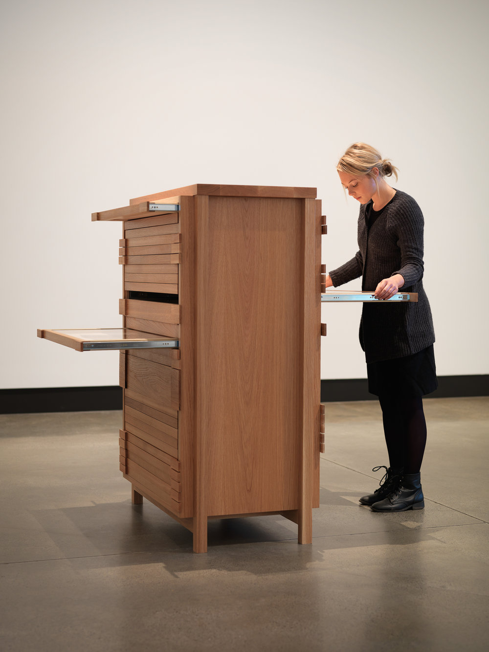 Private Archaeology 1997/2015  Marina Abramović (1946, Belgrade, Yugoslavia; lives and works in New York, NY, USA) Four wood cabinets, mixed media drawings Courtesy of the Marina Abramović Archives and Mona