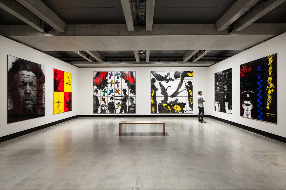 Various artworks as a part of Gilbert & George: The Art Exhibition, displayed at Mona, 2016.
