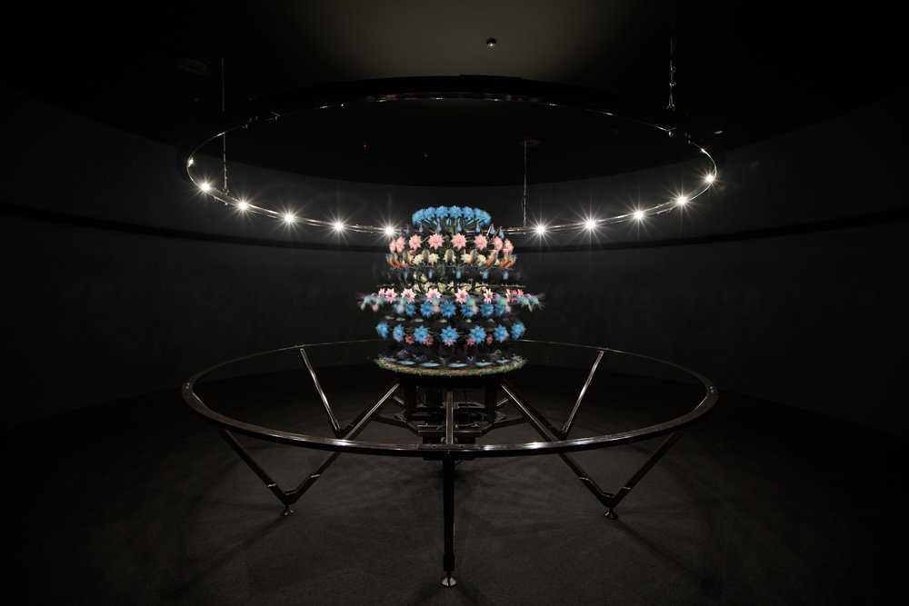 The Centrifugal Soul 2016  Mat Collishaw (Born 1966, Nottingham, England; lives and works in London, England) Acrylic, aluminium, steel, LED lights, motor, electronic circuitry, resin, paint  Commissioned by Mona for On the Origin of Art