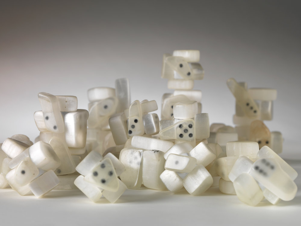 Untitled [dice] 2011  Hubert Duprat (Nérac, France, 1957) Ulexite, plastic dice, glue