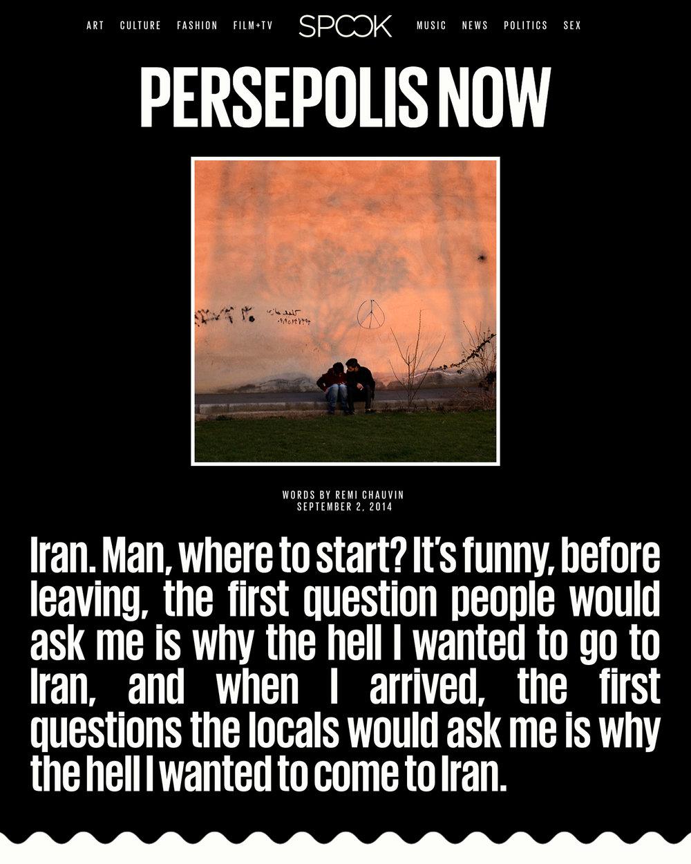 Persepolis Now - Spook Magazine