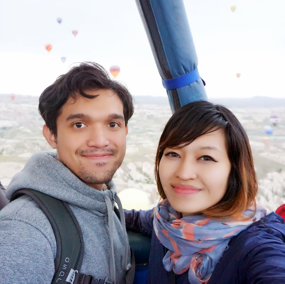 Check out how nervous we look (we're both afraid of heights)!