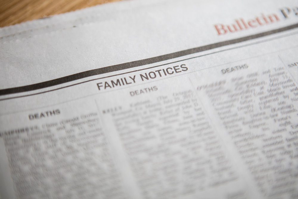 Funeral Notices & Obituaries  - We will gladly assist you in writing a death notice and will arrange for it to be published in the newspaper and/or broadcast on the radio station of your choice. We generally compose notices with the family present and will not publish any notice without their approval.The death notice may also be placed free of charge on RIP.ie