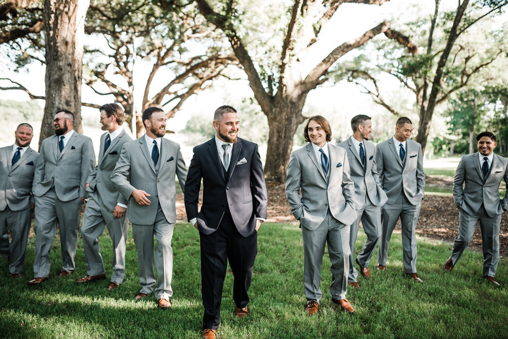 Groomsmen walking to get married, Houston Texas wedding photographer, Sweet Nest Photography