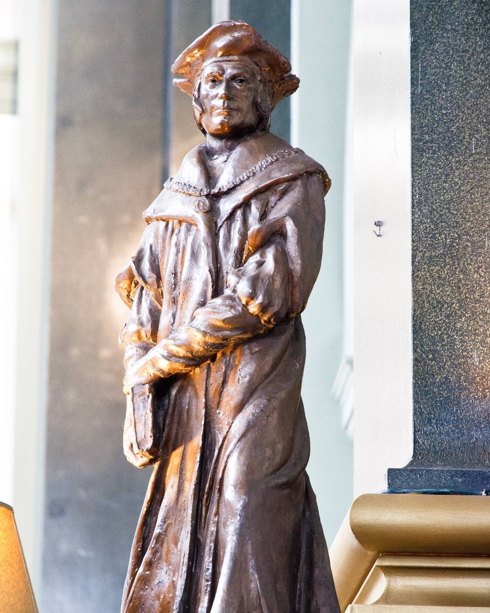St. Thomas More - This maquette, entered by Enzo Plazzotta in the competition to choose a sculptor for the statue that now stands on Chelsea Embankment, near Chelsea Old Church, was presented to the church by the artist.