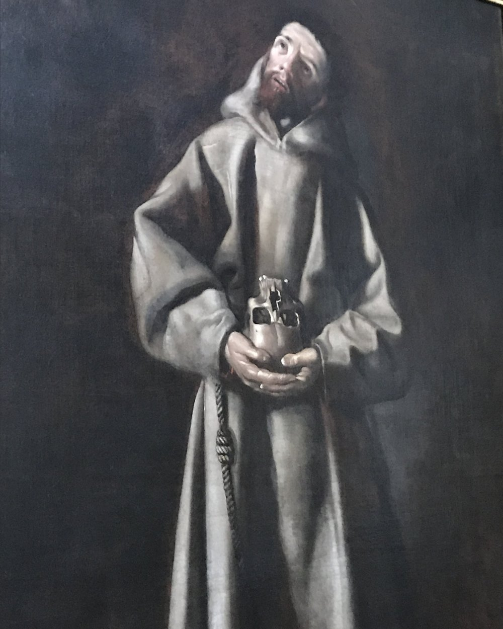 St Francis of Assisi - This portrait of St. Francis, by an unknown artist, depicts Francis holding a skull.  St. Francis has often been portrayed contemplating a skull, which is believed to be a reference to the crucifixion, which took place a Golgotha, the place of the skull.  The mark of the stigmata can also be seen on his left foot.