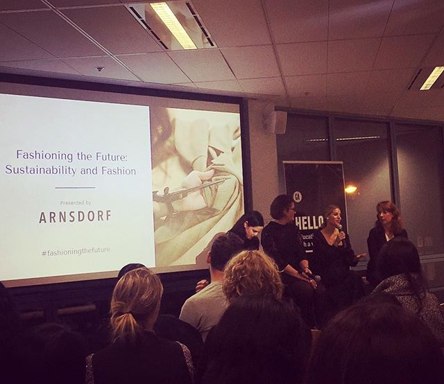 Loved last night's 'Fashioning The Future' panel discussion presented by @arnsdorf, featuring Courtney Sanders (@wellmadeclothes_) ,  Angela Bell (@ethicalclothingaustralia) and Alexandra Spring (sustainable business editor at @guardian) discussing the nuances of ethical and sustainable clothing manufacturing. It's so exciting to see designers like @jadesaritaarnott basing the entire ethos of their brand on respect for both the people making the clothes and the environment.  #FashioningTheFuture