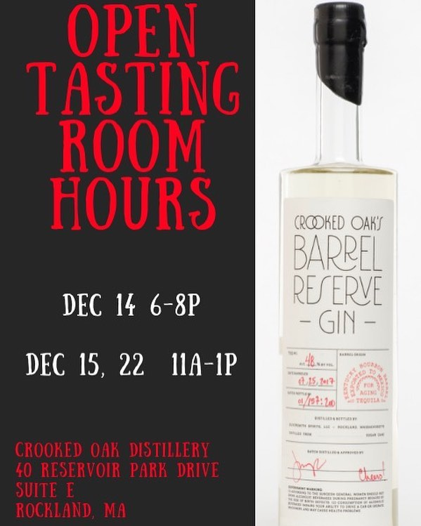 Come on by Crooked Oak Distillery and check out our Open Tasting Room! We've just added this coming Friday 12.14 6p - 8p to our holiday hours. We will be offering a tasting of our gin and vodka, as well as a gift with purchase while supplies last! Cheers 🍸