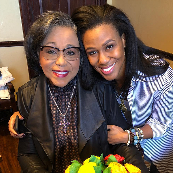 Lois Evans poses for a photograph with her daughter, Bible teacher and War Room star, Priscilla Shirer (Photo Credit: Priscilla Shirer Instagram)