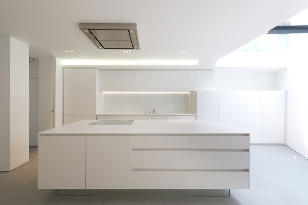 full renovation townhouse in the heart of Kensington including bespoke kitchen and stairs by minimalist London architect practice Thompson + Baroni